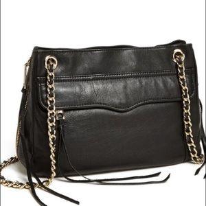 REBECCA MINKOFF Black Leather Swing Bag